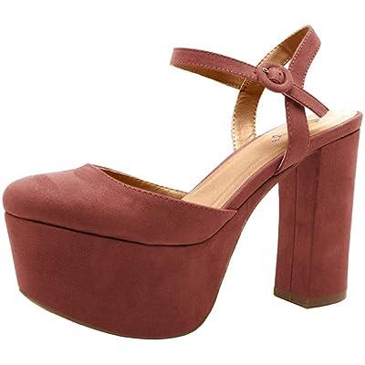 Qupid Nala-01 Women's Closed Toe Platform Chunky Heel | Pumps
