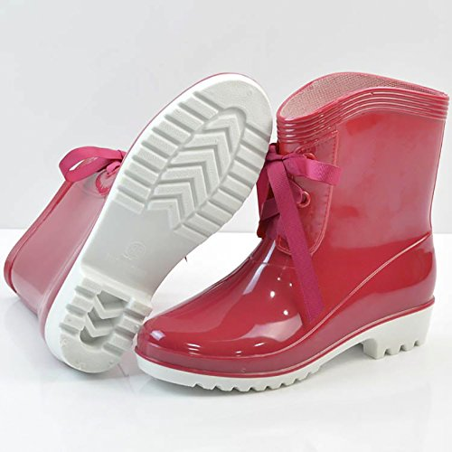 Qzunique Femmes Anti-dérapant Imperméable Gelée Bottes De Pluie Lacets Cheville Haute Pluie Chaussures Vin Rouge