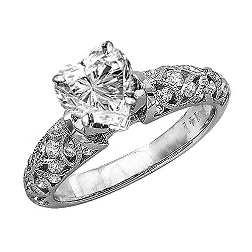 2.48 Ctw 14K White Gold GIA Certified Heart Cut Vintage Style Channel Set Filigree Diamond Engagement Ring, 2 Ct D-E VVS1-VVS2 Center