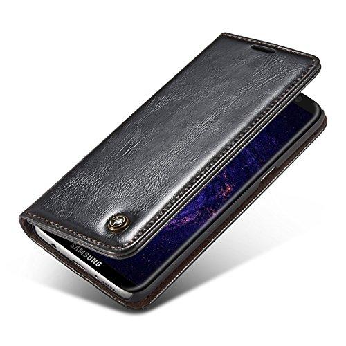 Carcasas y fundas Móviles, Para Samsung Galaxy S8 Plus, Luxury Business Style Color sólido Premium PU Cartera de cuero Diseño magnético Flip Folio Funda protectora con Ranura para tarjeta / Soporte pa Black