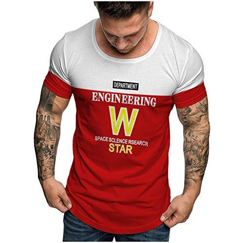 (iLXHD Men's Crewneck Summer Fashion Casual Comfort Print Short Sleeve T-Shirt Blouse Tops Red)