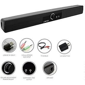 LONPOO 10W mini USB soundbar home theater system soundbar with Mic earphone output for PC/Smart phone/Small TV...