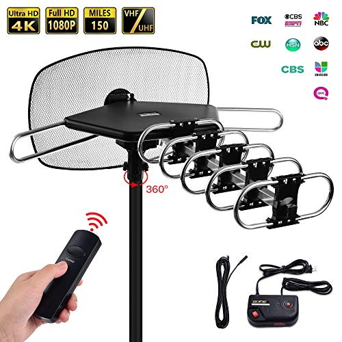 TV Antenna - Mesqool Amplified Outdoor Digital HDTV Antenna 150 Mile Range Motorized 360 Degree Rotation Wireless Remote Control for 2 TVs Support, UHF/VHF 4K 1080P Channels Reception, 40ft Coax Cable (Best Antenna For Non Cable Tv)