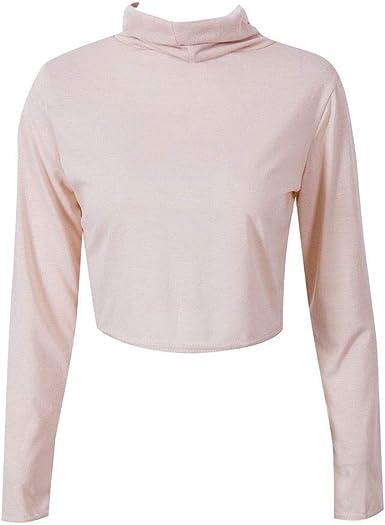 SEWORLD Blusa Cuello Alto de la Mujer Manga Larga Cintura Atractiva Camisa de Tocar Fondo en el Ombligo Camisa Camiseta(Negro, Gris, Caqui, Verde Ejército, Rojo,S, M, L, XL, XXL): Amazon.es: Ropa y
