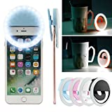 Dealpeak USB Rechargeable Selfie LED Camera Light Ring with 36 LEDs for iPhone iPad Samsung Galaxy Photography Phones (Blue)