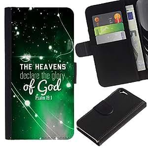 EJOY---La carpeta del tirón la caja de cuero de alta calidad de la PU Caso protector / Apple Iphone 6 / --BIBLIA Los cielos cuentan la gloria de Dios Salmo 19: 1