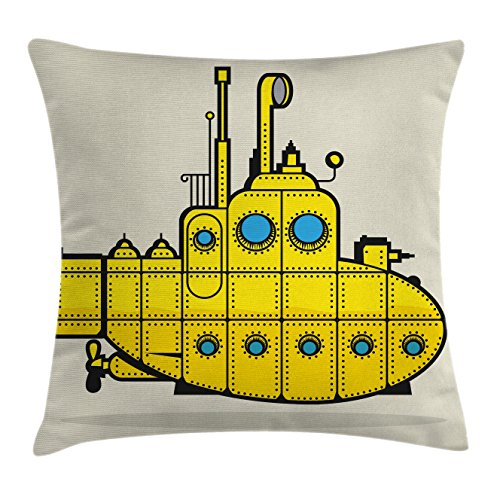 Ambesonne Yellow Submarine Throw Pillow Cushion Cover, Retro Grunge Artsy Marine Vessel Industrial Nautical Ocean Theme, Decorative Square Accent Pillow Case, 18 X 18 Inches, Gray Yellow Blue