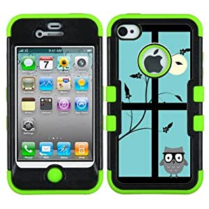 One Tough Shield ? 3-Layer Design Hybrid phone Case (Black/Green) for Apple iPhone 4 4s - (Moon/Owl)