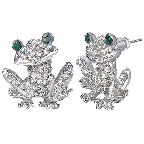 - EVER FAITH Austrian Crystal Lovely Little Frog Animal Daily Pierced Stud Earrings Clear Silver-Tone