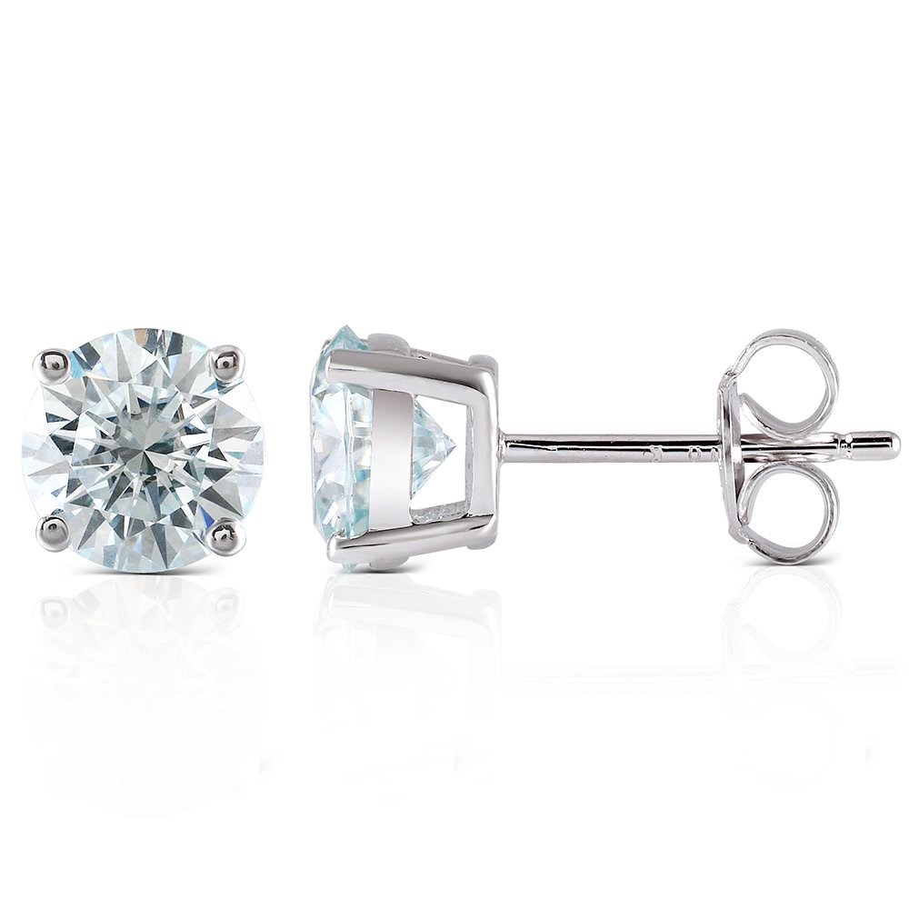 10K White Gold Post 2CTW 6.5MM Lab Grown Moissanite Stud Earrings Platinum Plated Silver Push Back for Women