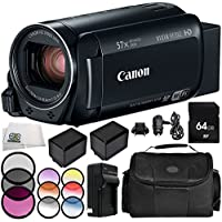 Canon VIXIA HF R82 Camcorder 9PC Accessory Bundle – Includes 64GB SD Memory Card, 3 Piece Filter Kit (UV, CPL, FLD), MORE - International Version (No Warranty)