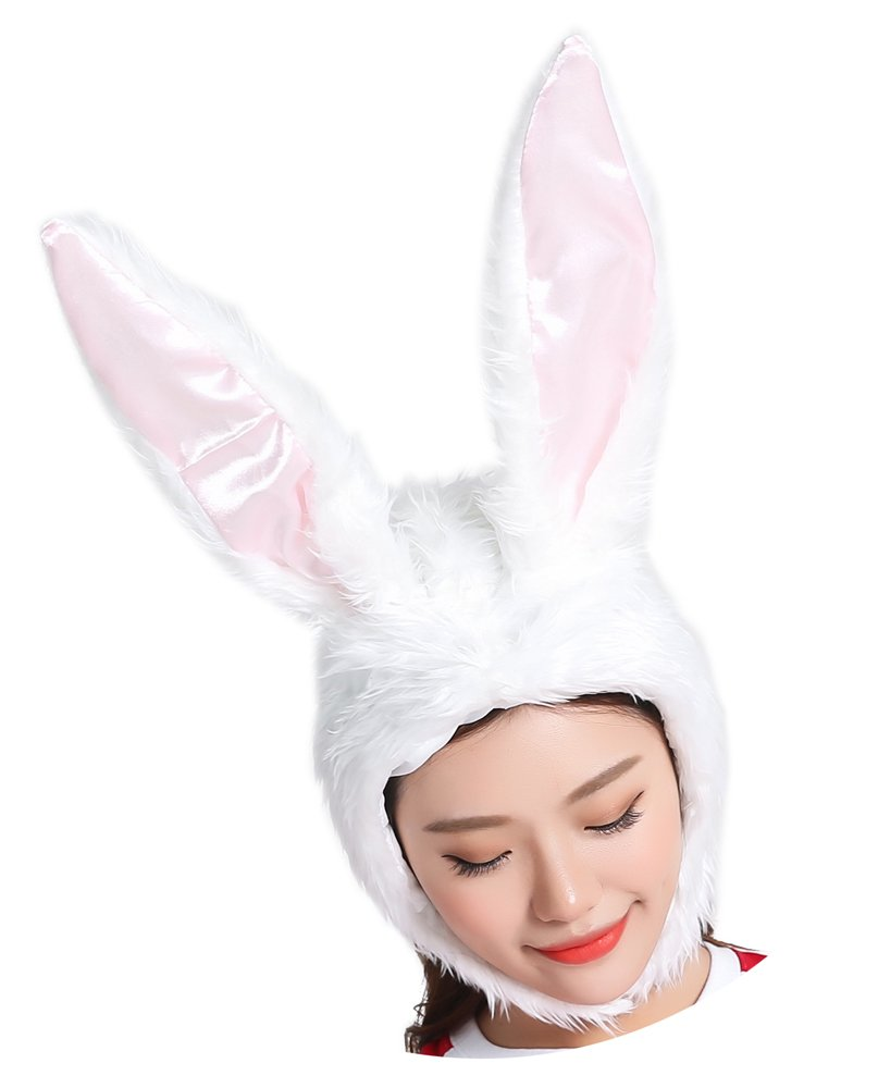 ADJOY Plush Bunny Hat for Girls Women - Halloween Role Play Rabbit Animal Party Hat with Soft Wire Frame Inside for Making Shape