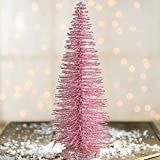 Factory Direct Craft Sparkling Pink Glittered Bottle Brush Holiday Miniature 10 Inch Tree for Embellishing Christmas and Holiday Displays