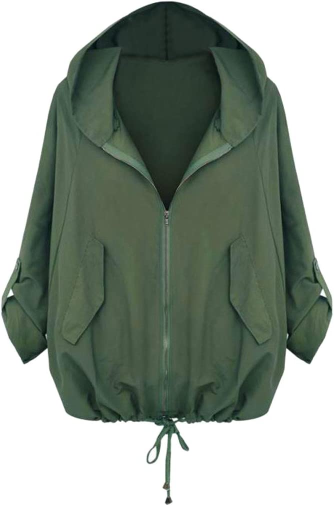 ✦HebeTop✦ Womens Basic Slim Fit Lightweight Zipper Drawstring Hooded Jackets Green