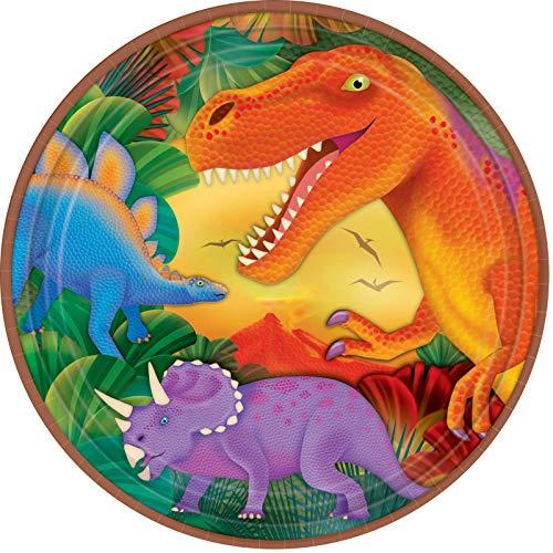 Amscan Prehistoric Dinosaurs Metallic Round Plates, 9