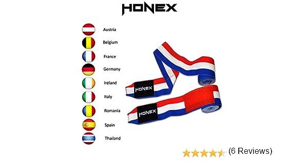 Honex - Vendas para Manos, para Boxeo, Extensibles, de Estilo Mexicano, de 4 Metros, con diseño de la Bandera de Francia, Boxeo y Artes Marciales, Muy Suaves y duraderas, Unisex, 1 par: