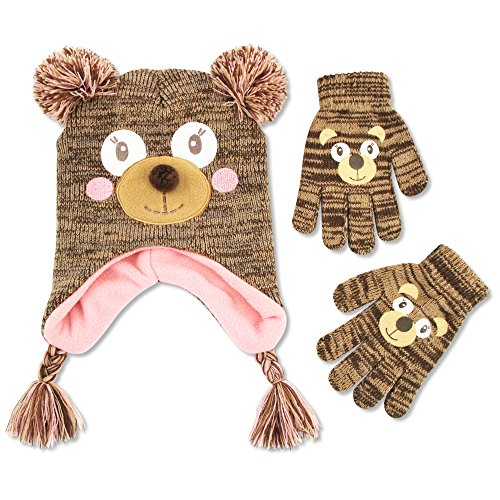 Price comparison product image ABG Accessories Big Girls' Bear Critter Acrylic Winter Laplander Hat with Yarn Pom Ears and Matching Glove Set., Brown, One Size Fits Most