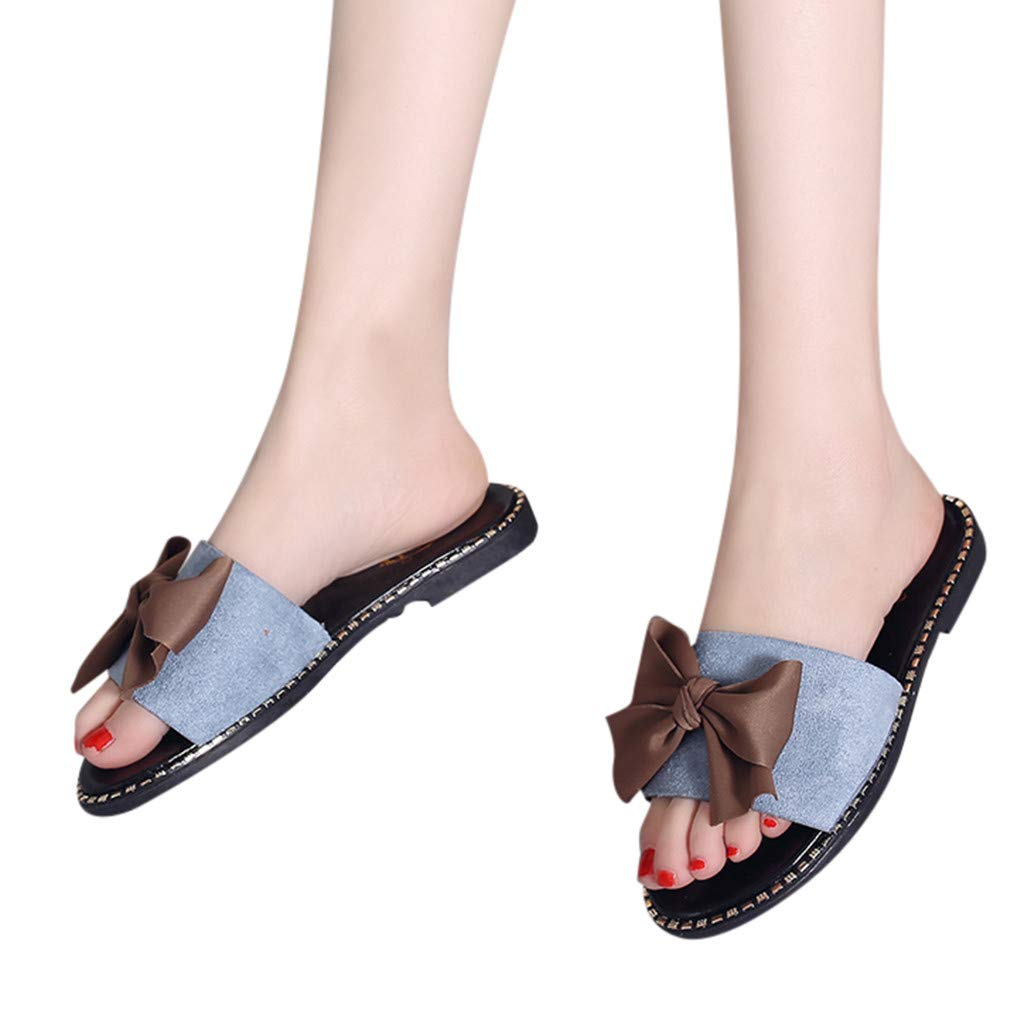 Aurorax Shoes 2019 New Women's Bowknot Solid Wild Wear Flats Sandals Home Outdoor Beach Lightweight Sandals Slippers Size 5-7.5 (Blue, US:7.5)