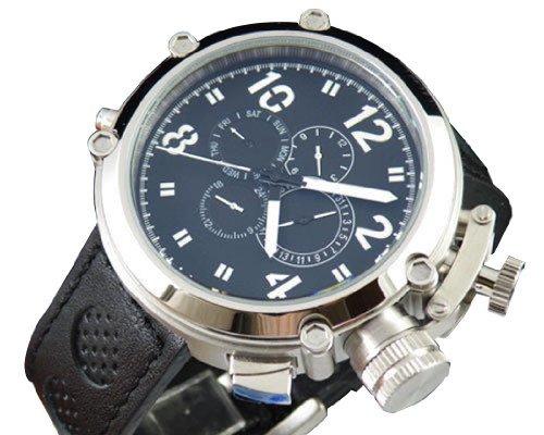Fanmis 50mm オーバーサイズ ブラック文字板 自動巻き メンズ 腕時計 ブラックレザーベルト B00KDJTX5G