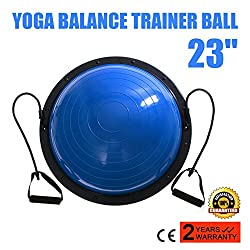 VEVOR Balance Trainer Ball 23 Inch Balance Trainer Blue Balance Ball Yoga Fitness Strength Exercise Workout with Resistance Bands and Pump