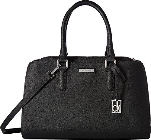 Calvin Klein Womens Saffiano Satchel Black/Silver One Size by Calvin Klein