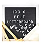 Wooden Letter Board 10''x10'' with 340 Changeable Letters, Symbols, & Emojis + Stand & Canvas Bag (Black, 10''x10'')