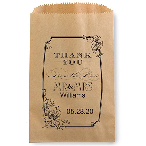 Floral Thank You Personalized Favor Treat Bag for Candy Buffet - 50 Custom Kraft Cookie Bags 5 x 7 1/2