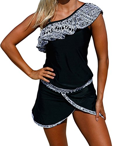 YeeATZ Women Tribal Geometry Ruffle One Shoulder Tankini - West Mall Monroe
