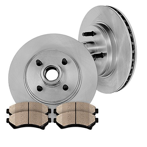 FRONT 277 mm Premium OE 4 Lug [2] Brake Disc Rotors + [4] Ceramic Brake (93 Mustang Lx Hatchback)