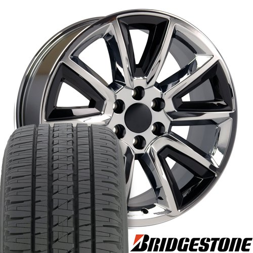 22x9 Wheels & Tires Fit GM Truck & SUV - Tahoe Style Chrome Rims w/Black Inserts, Hollander 5696 Bridgestone Tires - SET