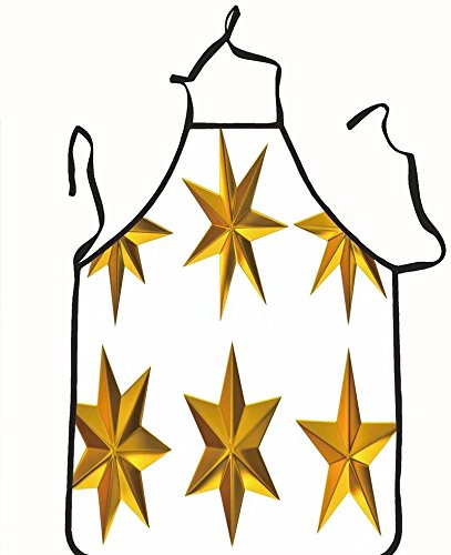 chanrancase tailored apron set with gold stars on white background Children, unisex kitchen apron, adjustable neck for barbecue 26.6x27.6+10.2(neck) INCH