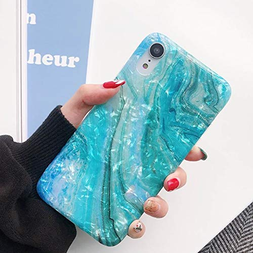 iPhone XR Case for Girls, YeLoveHaw Glitter Pearly-Lustre Translucent Shell Texture with Quicksand Pattern Phone Case [Flexible, Slim Fit, Full Protective] for iPhone XR 6.1 Inch (Blue)