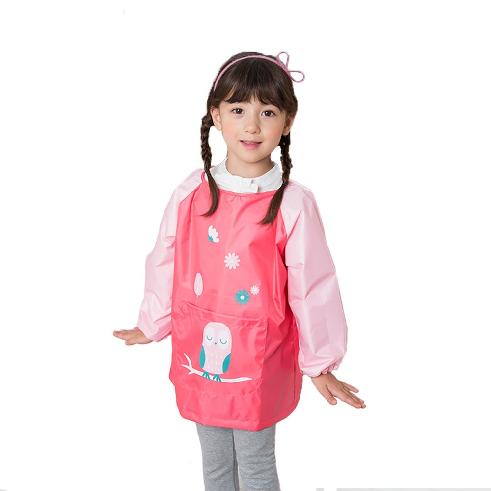 Children: M, Dark Blue Reusable Painting and Kitchen Apron Children/'s Colorful Art Craft Smock with Long Sleeves Large Pocket HOSIM Kids Painting Apron for Girls and Boys
