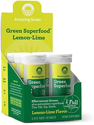 Amazing Grass, Green Superfood Drink Tablets, Flavor: Lemon Lime, 60ct Tablets, with Alkalizing Greens and Antioxidant Blend