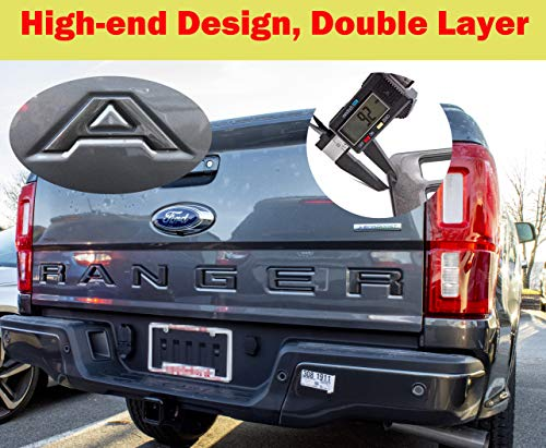 AUTO PRO ACCESSORIES Tailgate Insert Letters Fits 2019-2020 Ford Ranger, Not Decals Double Layer Emblems (Gray with Black Outline)