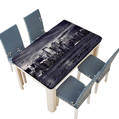 PINAFORE Waterproof SpillProof Tablecloth New York City Manhattan Taken from Jersey Side Hoboken for Picnic,Outdoor or Indoor Party use W57 x L96.5 INCH (Elastic Edge)