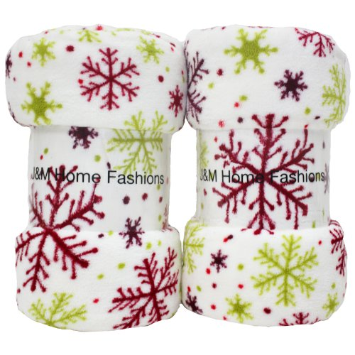 Holiday Snowflake Design Plush Fleece Blanket, 50 by 60-Inch, 2-Pack
