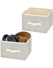 mDesign Juego de 2 organizadores para armarios en Tela – Cajas de Tela para ordenar armarios con diseño clásico – Cajas organizadoras para Ropa, Mantas, Accesorios y más – Crudo/Azul
