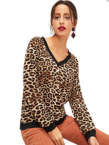 c1b22a849d5f SweatyRocks Women's Casual V Neck Long Sleeve Leopard Sweatshirts Pullover  Shirt Blouse Tops