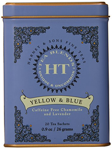 Harney & Sons Caffeine-Free Herbal Yellow & Blue Tea with Chamomile & Lavender Tin 20 Sachets