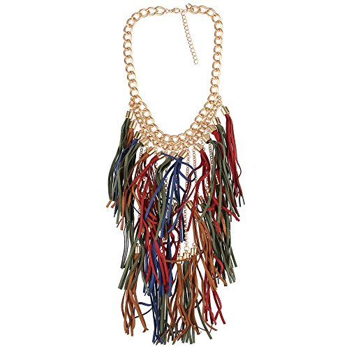Beauty7 Exaggerated Bohemian Long Tassels Fringe Statement Bib Necklace Collar Chunky Women Party