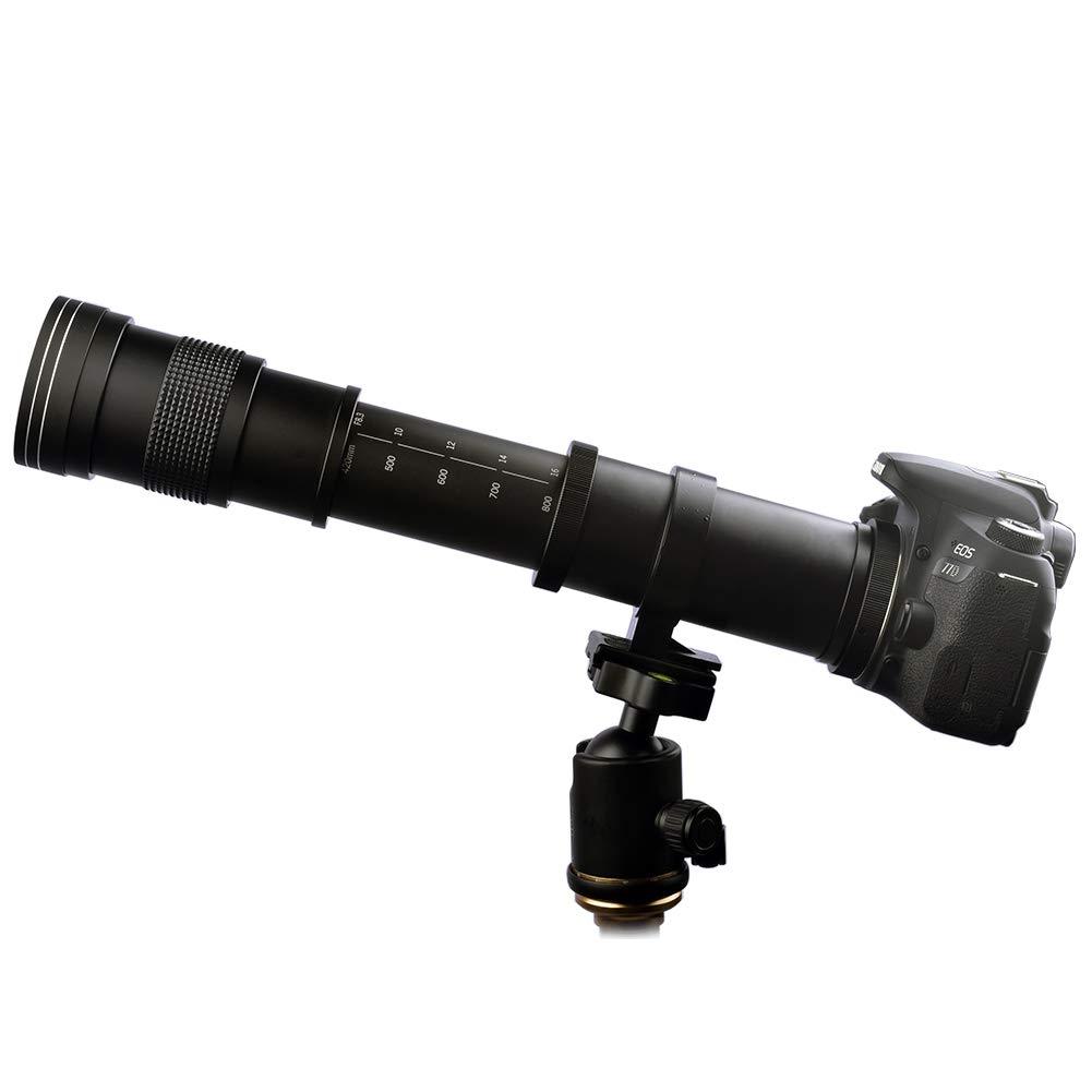Lightdow 420-800mm f/8.3 Manual Zoom Super Telephoto Lens + T-Mount for Canon EOS Rebel T3 T3i T4i T5 T5i T6 T6i T6s T7 T7i SL1 SL2 6D 7D 7D 60D 70D 77D 80D 5D II/III/IV DSLR Camera Lenses