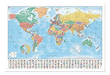 World map with facts flags pinboard cork board with pins framed world map with facts flags pinboard cork board with pins framed in white gumiabroncs Gallery