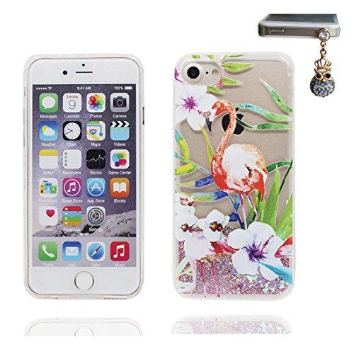 """iPhone 6 Coque, Bling Bling Glitter iPhone 6s étui Cover (4.7 pouces), Fluide Liquide Sparkles Sables- Bling Flamant, iPhone 6 Case (4.7""""), anti- chocs & Bouchon anti-poussière"""
