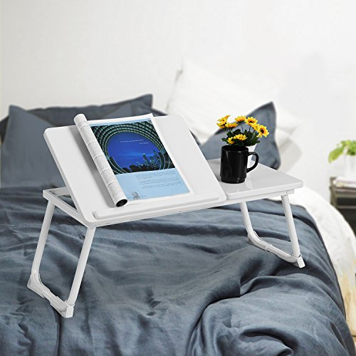 White Laptop Notebook iPad Desk Stand Foldable Large Size Portable Adjustable Tilting Home and Office Lap Desk Bed Tray