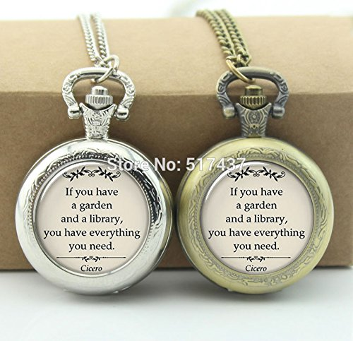 (Pretty Lee Cicero Quote Pocket Watch If You Have A Garden And A Library Jewelry Locket Necklace Pocket Watch Necklace )