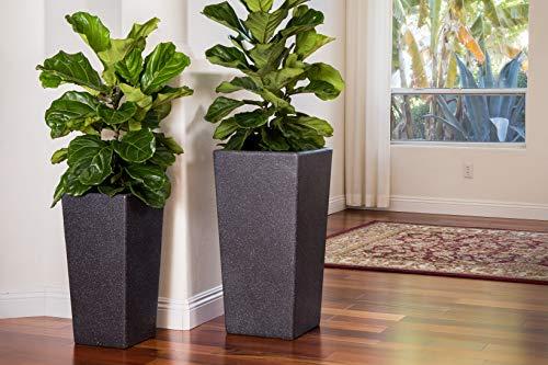 XBrands PL2915BK Modern Nested Black Square Flower, Set of 2 Different Sizes, 29 Inch & 24 Inch Tall Pot Planter 29''&24'
