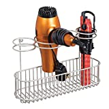 mDesign Metal Wire Cabinet/Wall Mount Hair Care & Styling Tool Organizer - Bathroom Storage Basket for Hair Dryer, Flat Iron, Curling Wand, Hair Straightener, Brushes - Holds Hot Tools - Satin