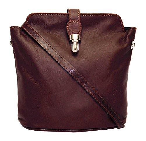 para de pequeño Bolso mujer color italiano auténtico claro marrón talla cuero S 56awBqwx