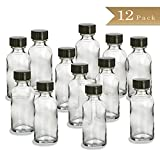 Pack of 12 - 1/2 Ounce (15 ml) Clear Boston Round Glass Bottle with Black Cap
